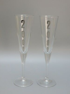 """CRYSTAL 6 Oz FLUTES SET OF 2 WITH SILVER PAINTED 2000 - 9 1/8"""" TALL"""