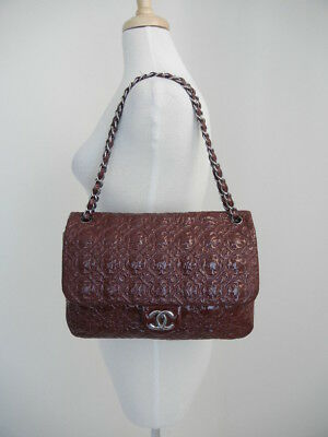 f3c1e0827498b7 Chanel Burgundy Quilted-Spheres Patent-Leather Double-Chain Medium Handbag  Purse