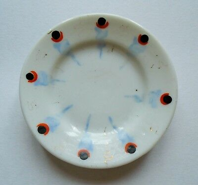 Antique Primitive Stick Spatter Spatterware Porcelain Pottery Butter Pat 2.5""