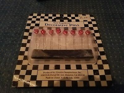 Mary Engelbreit Decorative Pins 1999 New Old Stock Strawberry 8 Per Pack