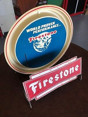 Vintage FIRESTONE Tire Stand Signs Gas Oil OLD Station Car Truck DISPLAY Rack