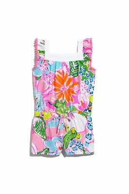 BNWT Lilly Pulitzer Nosie Posey Pink multi color Romper pom pom detail 4T cotton