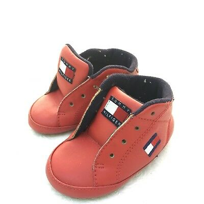 6dd478755 TOMMY HILFIGER Infant Baby Crib Shoes Red Leather Size 2 M Vintage Spell Out