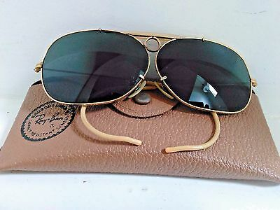 7650c31114dc4a B L VINTAGE RAY Ban Aviator Shooter Sunglasses   Case - 10k GO - 1 ...