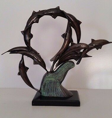 BRONZE SCHOOL OF DOLPHINS Marine Sculpture Statue -  VERY NICE!!!