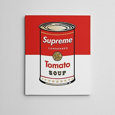 "16x20"" SUPREME X ANDY WARHOL Tomato Soup Campbells Can Gallery Art Canvas Series"