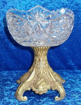 Vintage L & L Crystal Bowl With Bronze Base (Pb1)