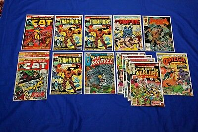 Marvel Lot of 14 Comics Champions #1 Cat #1 John Carter Warlord Bronze Age Key