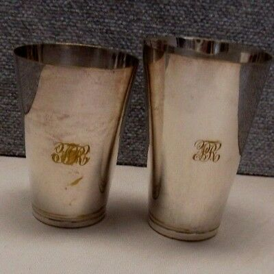 2 Old Sheffield Plate Silverplate 19th C Tumbler Drinkware Cup