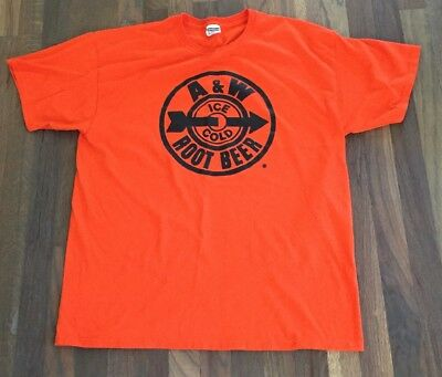 A and W Root Beer T-Shirt Orange Jerzees Size XL A&W A & W Ice Cold Rootbeer