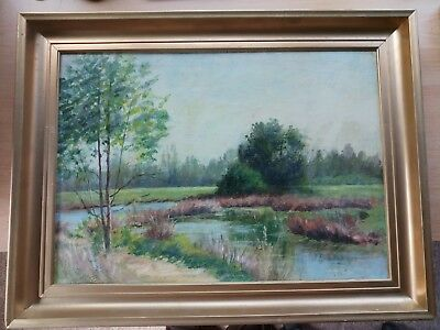 Wimbledon Common:  Vintage Oil On Board- 17 X 12  Inches