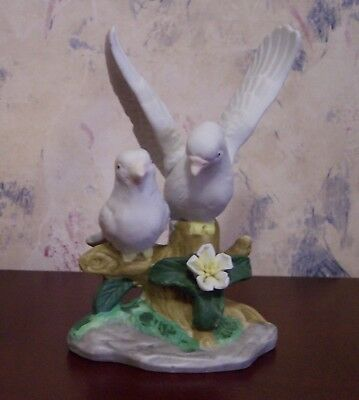 Pair of White Dove Birds Figurine Wings Up