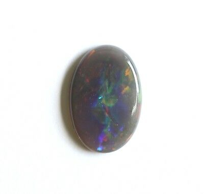 2.41CT 14.4x9.8 NATURAL SOLID BLACK  OPALLIGHTNING RIDGE OVAL LOOSE MULTI COLOUR