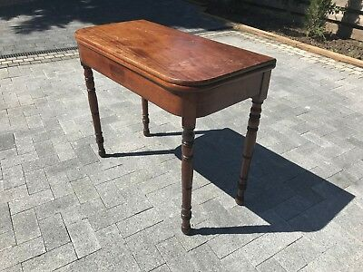 Console, card, tea table folding Victorian mahogany, antique turn over fold out