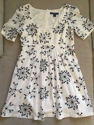 Vintage French Connection White w Black Print 100% Cotton Dress Sz 8 /Med/Large