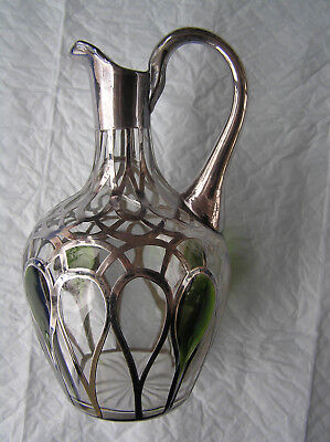 Alvin sterling silver overlay multicolor glass pitcher/ewer