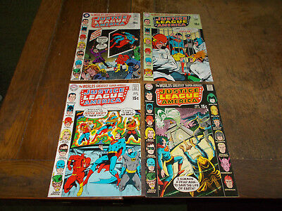 Justice League of America (1960 series)  Run of 4 iss 80 - 83 DC 1970 Ave FN
