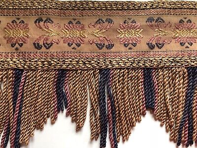 4 Antique Victorian curtain Valances fringed tapestry Romantic Chic