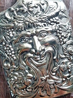 Godinger Silver Plated Repousse Bacchus Face Goddess of Wine Flask 1983