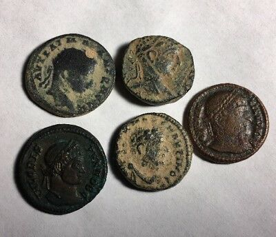 Rare important large lot of 5 ancient Roman desert patina and detail coins