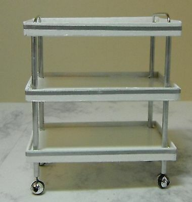 Dollhouse miniature handcrafted Medical cart white wood metal 1/12th scale