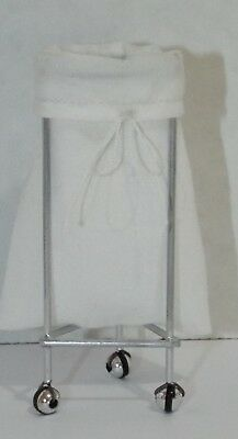 Dollhouse miniature handcrafted Medical Laundry basket sack stand white silver