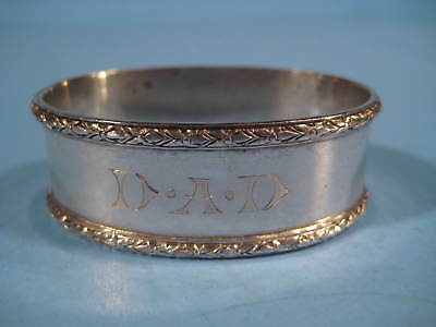 Birks Ellis Sterling Silver Vintage DAD Monogrammed Oval Napkin Ring 0.8 oz troy