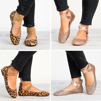 a55a46cce Women Ballet Flat Leopard Metallic Shoes Comfort Round Toe Causal Plus Size