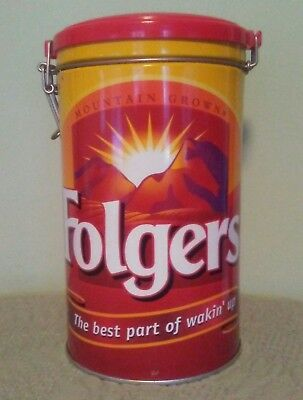 Folger's Coffee Tin Collectors Canister With Wire Bale & Plastic Lid.