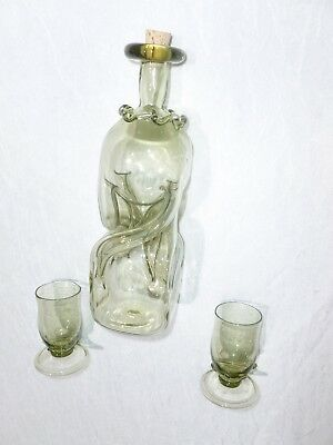 "Glug, or Kluck Kluck 8"" Decanter Hand Blown + Two 3"" Glasses All Signed Y F"