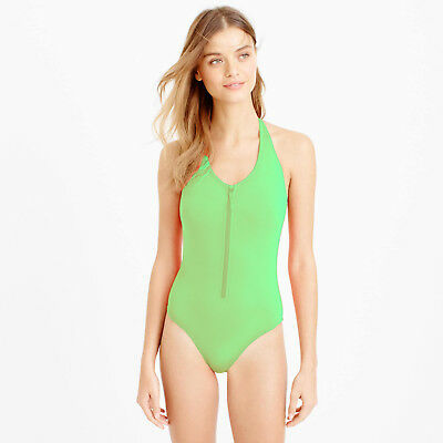 6d9ac14463 J Crew Zip Front One Piece Swimsuit Bathing Suit Green Size Small New