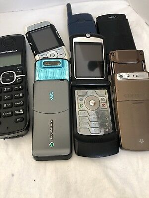 Lot Of 7 Old Cell Phones Motorola Sony Samsung Nokia All As Is