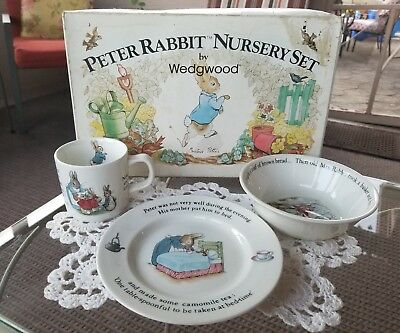 Vintage Children S 3 Piece Set Peter Rabbit Nursery By Wedgwood