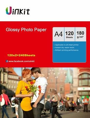 240sheets A4 Photo Paper 180Gsm High Glossy White Inkjet Paper Printer Uinkit