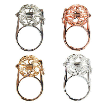 1Pc Women Gold/Silver Plated Hollow Out Star Pearl Beads Cage Rings Jewelry Gift
