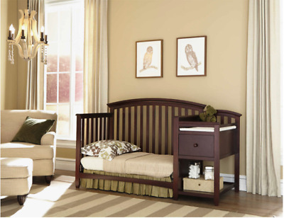 Convertible Baby Crib Changing Table w Pad Brown Combo Nursery 4-in-1 Set