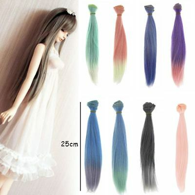 25cm DIY Colorful Doll Straight Hair Refires Wigs for 1/3 1/4 1/6 BJD SD Dolls