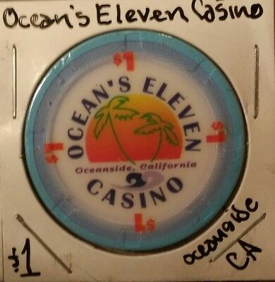 Set of 4: $1 Poker Chips OCEANS ELEVEN(CA), EUREKA, RANCHO, OASIS 🎰 MESQUITE NV