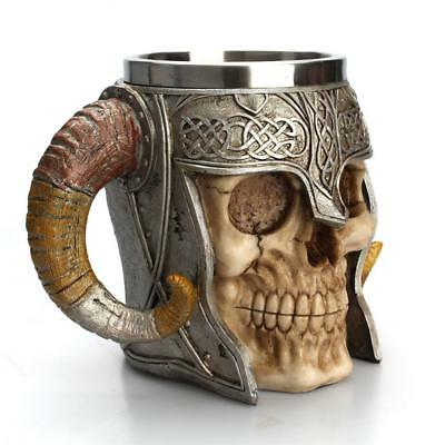 2pcs Skull & Bone 3D Skeleton Tankard Mug Cup Coffee Beer Pirate Gothic