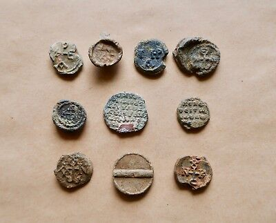 Lot Of 10 Byzantine Lead Seals/ Bleisiegels. Very Nice Items!