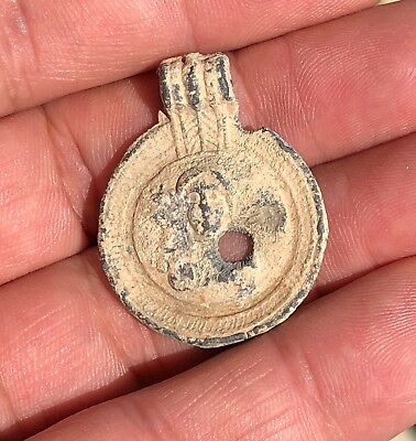 Byzantine Lead Christian Discoid Pendant With Virgin Mary. Nice Piece Of Art!