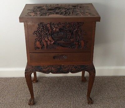 Lovely Carved Oriental Work/sewing / Deed  Box Table ..pick Up Geelong