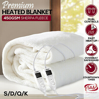 Dreamz Fleecy Fitted Heated Electric Blanket Fleecy Warm Fully Fitted S/ D/ Q/ K
