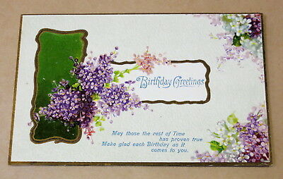 Antique Used Postcard 1909 Birthday Greetings