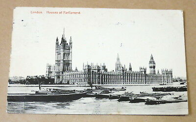 Antique Used Postcard 1912 Houses Of Parliament London Real Photo