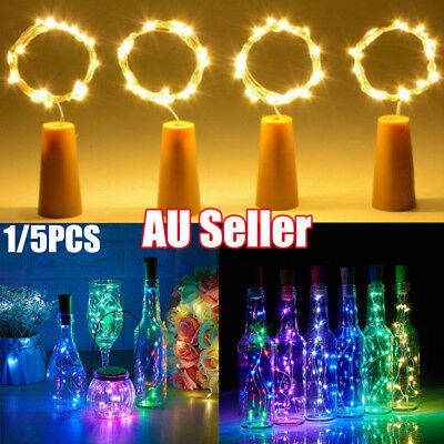 5x Copper Wire Wine Bottle Cork Battery Operated Fairy String Lights 1M 10LED LG
