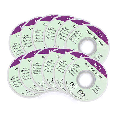 10XDental Orthodontic NITI Open Coil Spring Size 0.008x0.030'' Length 914mm