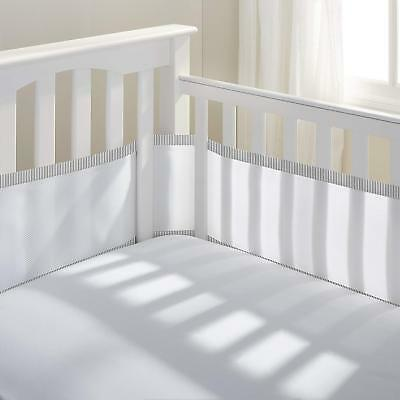 BreathableBaby Breathable Classic Mesh Crib Liner White/Gray Charcoal Seersucker