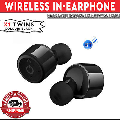 X1 Twins Wireless In-Earphone Earpods Built-in Mic Apple Android Compatible Blac