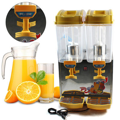 The USED Commercial 2-Tank Juice Beverage Dispenser Fruit Ice Tea Cold Drink